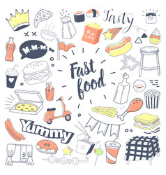 fast food hand drawn doodle with burger vector image vector image