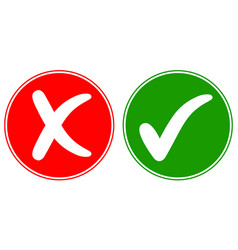 icons check mark tick and cross cancel vector image vector image