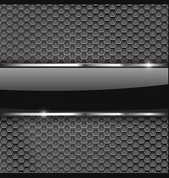 metal perforated background with glass plate vector image