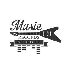 Music Record Studio Black And White Logo Template vector image