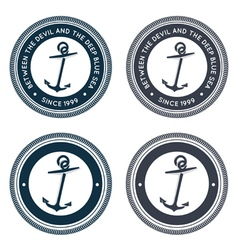 Nautical emblem with anchor vector image vector image