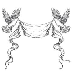 doves sketch ribbon vector image vector image