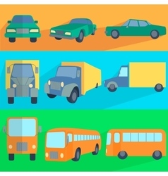 Flat set icons symbols car truck bus vector image