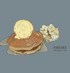hand drawn pancakes with vanilla ice cream and vector image vector image
