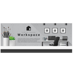 interior design with table top and workplace vector image vector image