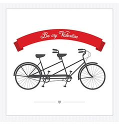 Postcard with vintage tandem bicycle vector image vector image