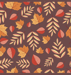 seamless pattern with autumn leaves on a colored vector image vector image