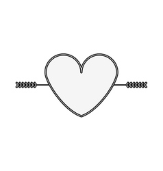 silhouette heart crossed by arrow vector image