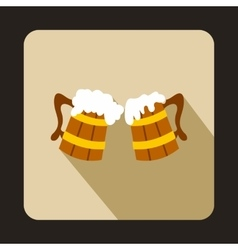 Two Wooden Mugs with Beer icon flat style vector image vector image