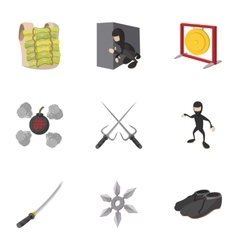 Warrior icons set cartoon style vector
