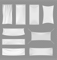 white blank textile advertising banners with folds vector image vector image