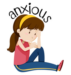 A girl having anxious vector