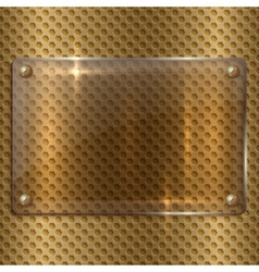 Abstract glass plaque on the metal cell grid vector