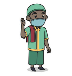 African muslim boy character wearing face mask vector