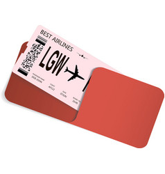 Airline ticket or boarding pass in envelope vector