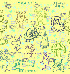 alien happy cute monsters seamless pattern vector image