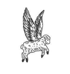 angel flying sheep engraving vector image