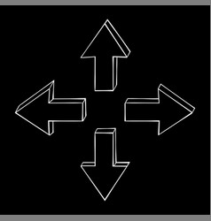 arrows four directions on black background vector image