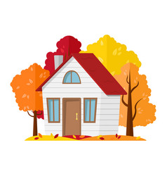 autumn landscape country house in the autumn vector image