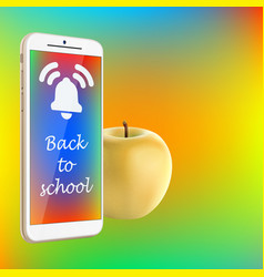 Back to school smartphone yellow apple vibrant vector