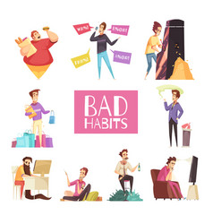 Bad habits set vector