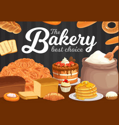 bakery bread pastry desserts cafe poster vector image