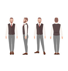 bearded man or office worker in elegant business vector image