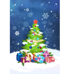 beautiful christmas tree night view over blue sky vector image