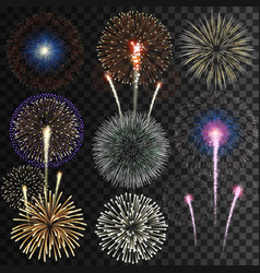big set isolated fireworks vector image