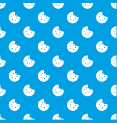 Bite biscuits pattern seamless blue vector