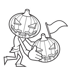 Black and white funny cartoon pumpkin halloween vector