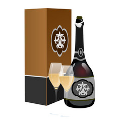 black bottle at box with two filled glasses vector image