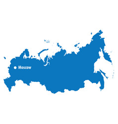 blue similar russia map with capital city m vector image