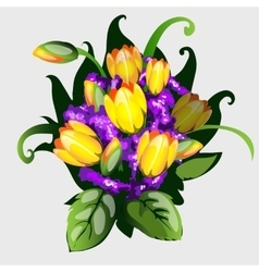 Bouquet of yellow tulips vector image
