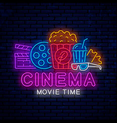 bright signboard for cinema vector image