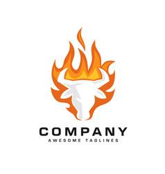 bull head flaming fire logo vector image