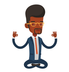 Business man meditating in lotus position vector