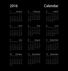 calendar for 2016 on black background EPS10 vector image