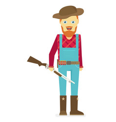 Cartoon hunter with gun redneck isolated on white vector