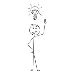 cartoon of businessman with light bulb above head vector image