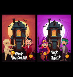 children in monster costumes witch mummy vampire vector image
