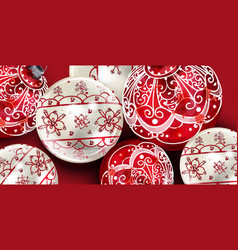 christmas balls decoration banner vector image