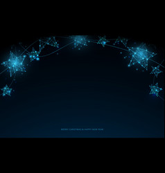 christmas blue decoration hanging glitter stars vector image