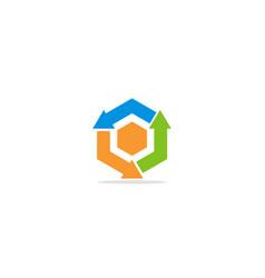 circle arrow polygon colored logo vector image