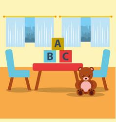 Classroom kinder table chair bear teddy blocks and vector