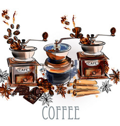 Coffee background with coffee grinder anise stars vector