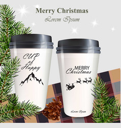 Coffee cups to go realistic mock up winter vector