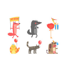 Collection cute animals for happy birthday vector