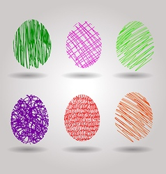 color sketch easter eggs vector image