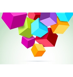Colorful cubes hanging in scene vector